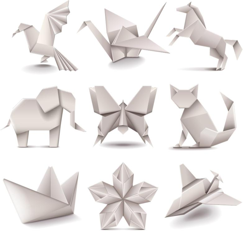 Nine White Paper Folding Design Vector