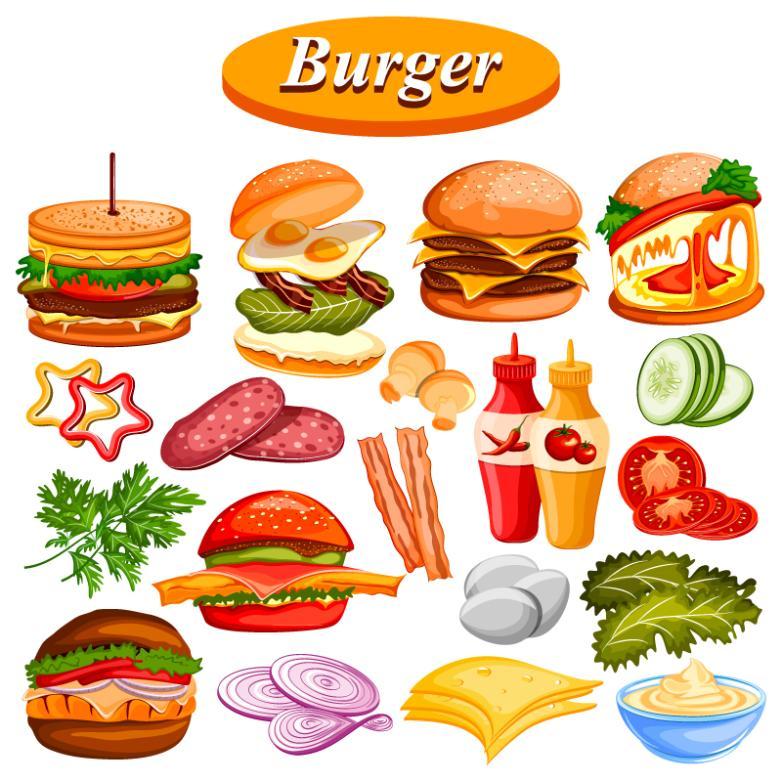19 Delicious Hamburger Elements Vector