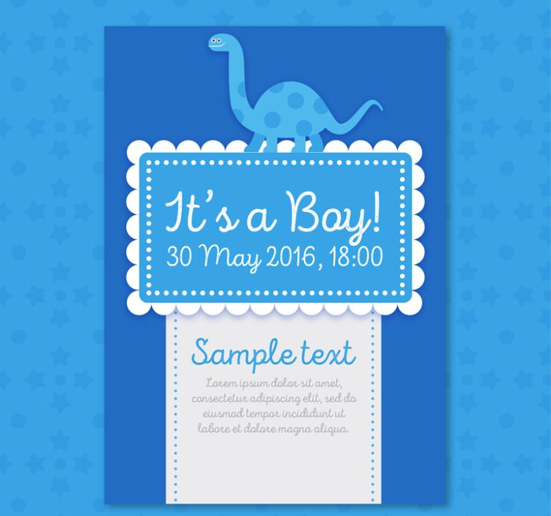 Blue Dinosaur Baby Showers Party Invitation Card Vector