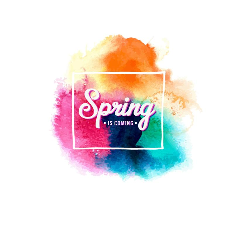 Mixed Color Watercolor Ink Spring Artistic Words Vector