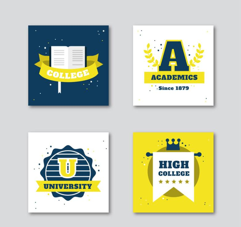 University Of 4 Square Label Vector