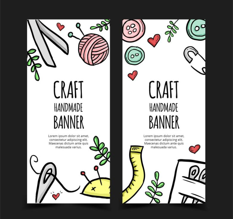 Two Banner Painting Craft Elements Vector