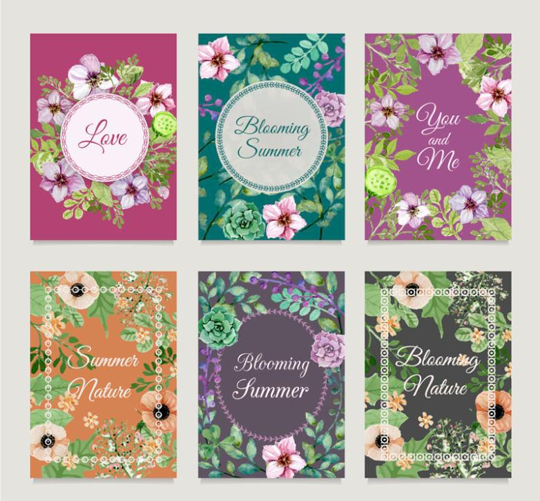 Six Beautiful Summer Flowers Cards Vector