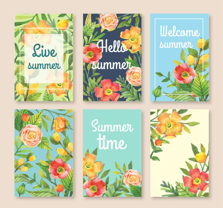 Six Color Summer Flowers Cards Vector