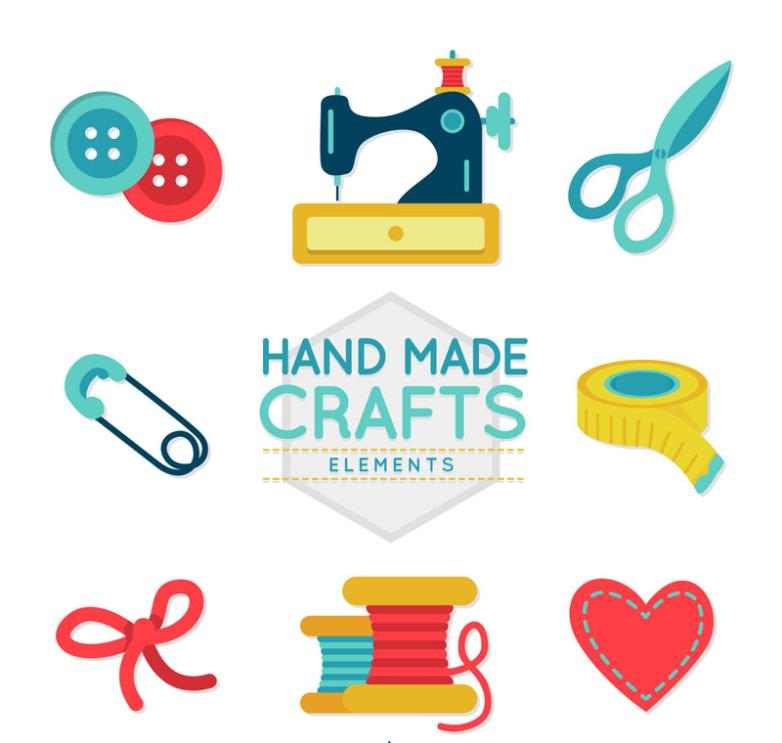Eight Creative Hand-sewing Elements Vector
