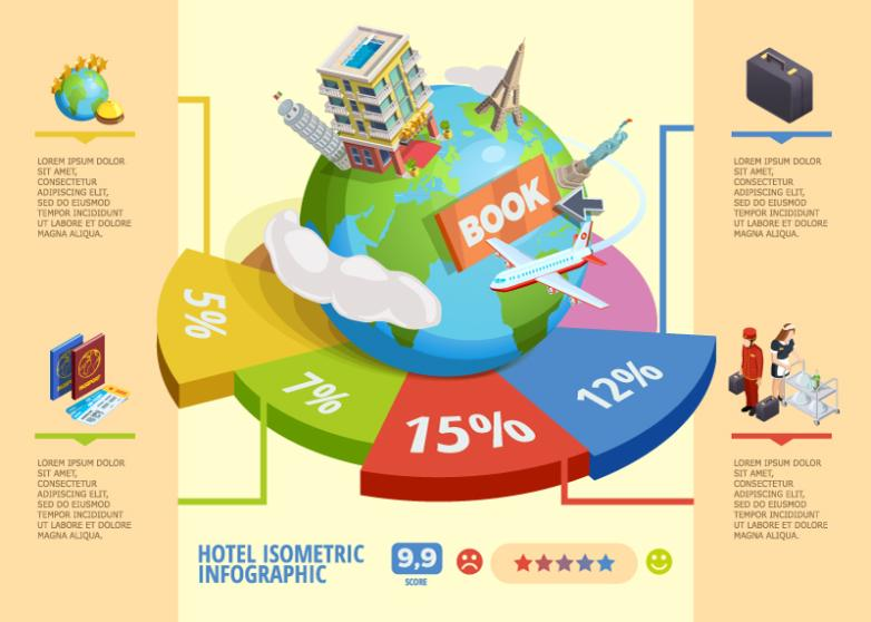 Creative Journey Around The World The Three-dimensional Figure Hotel Information Vector