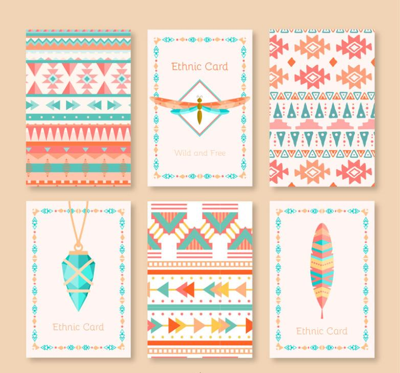 Six Coloured Drawing Or Pattern Card Tribal Culture Elements Vector