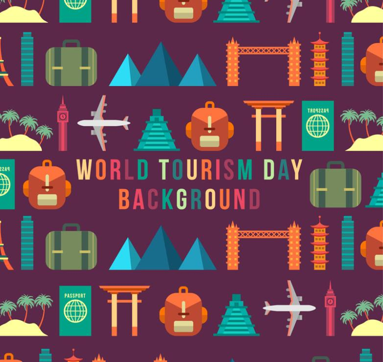 Flattening Of The World Tourism Day Seamless Background Elements Vector