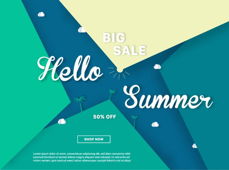 Color Summer Promotional Poster For Half Price Vector