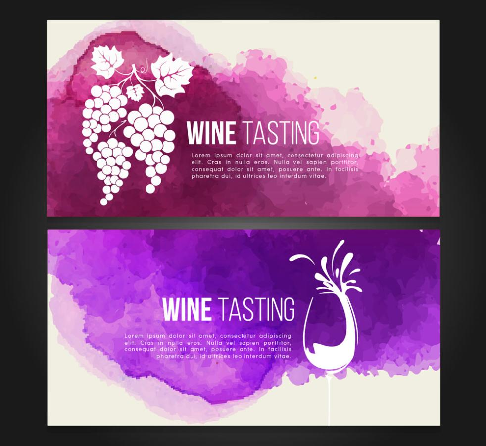 Two Wine Tasting Banner Coloured Drawing Or Pattern Vector