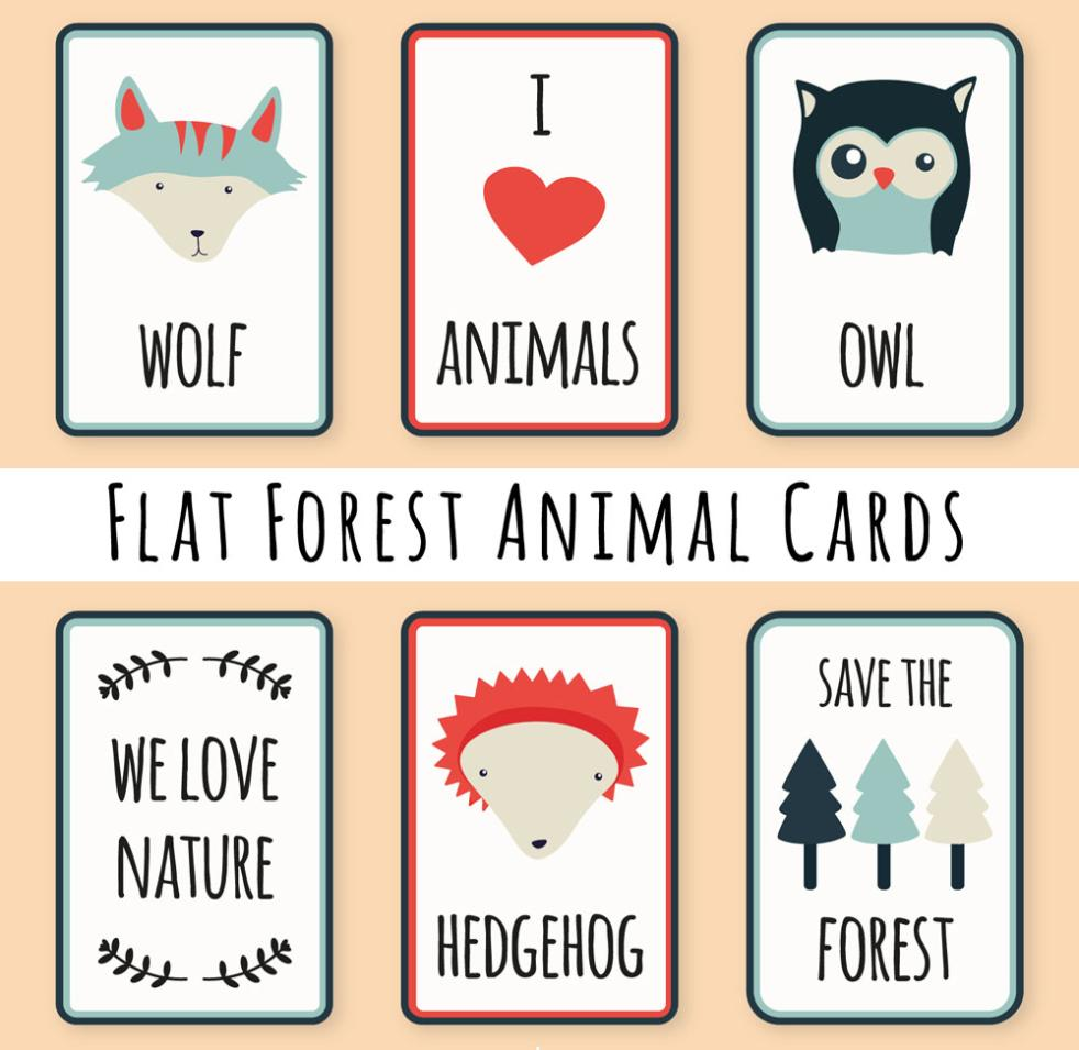 Element Six Flat Forest Animals Vector