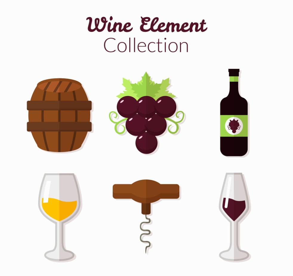 6 Flattened Wine Icon Vector