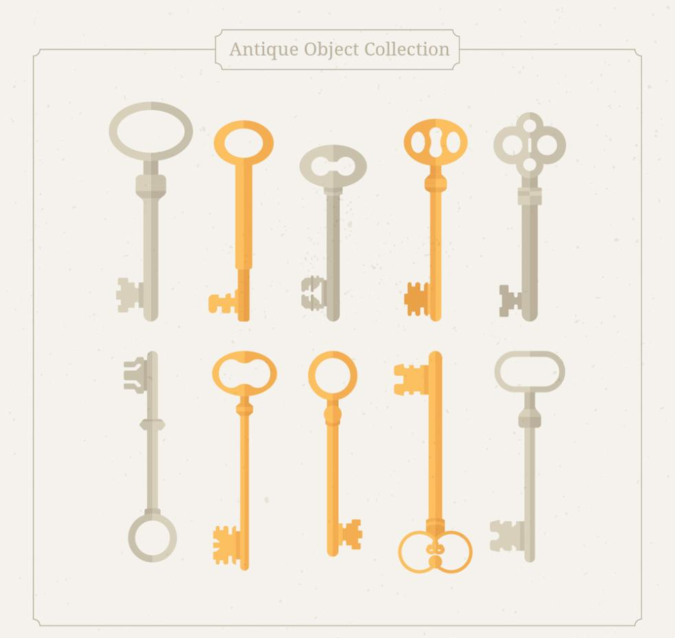 10 Flat Old Key Vector