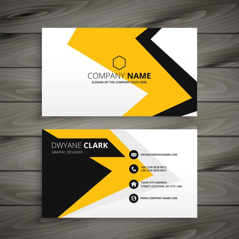 Positive And Negative Fashion Yellow Black Business Card Design Vector