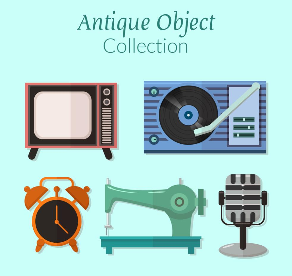 5 Flat Home Old Items Vector