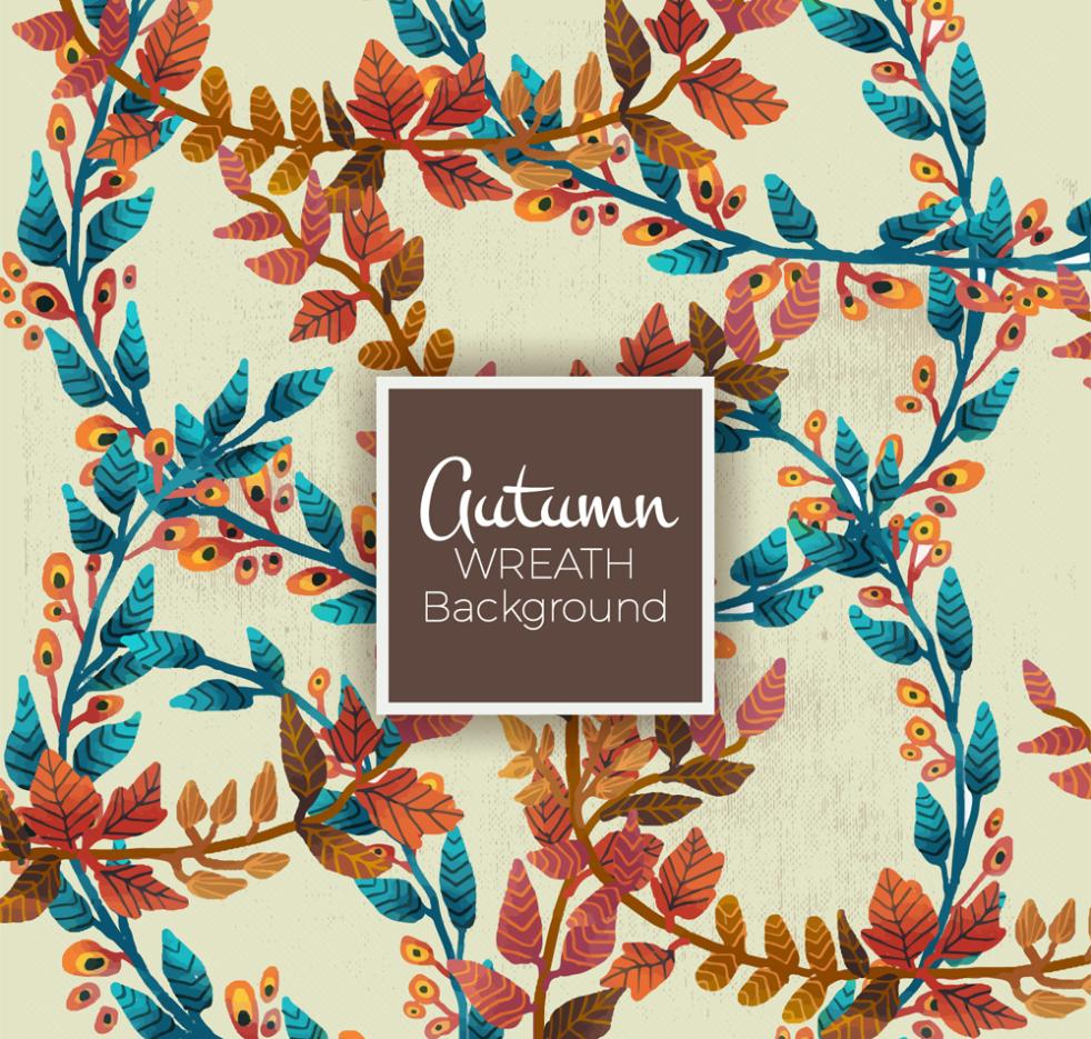 Autumn Twig Seamless Background Coloured Drawing Or Pattern Vector