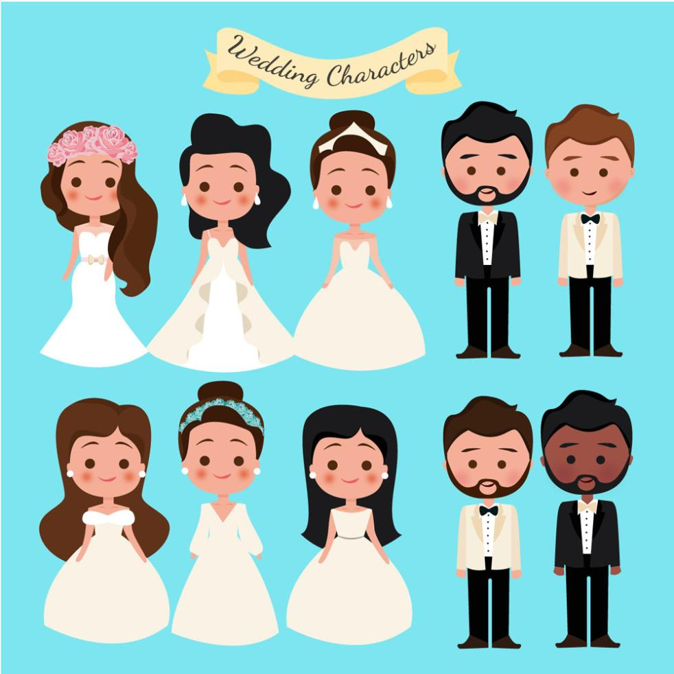 Six Cartoon The Bride And Groom And Paragraph 4 Vector