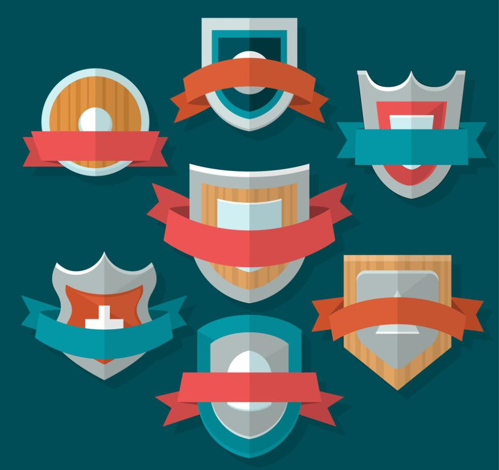 Seven New Texture Ribbon Shield Badge Vector