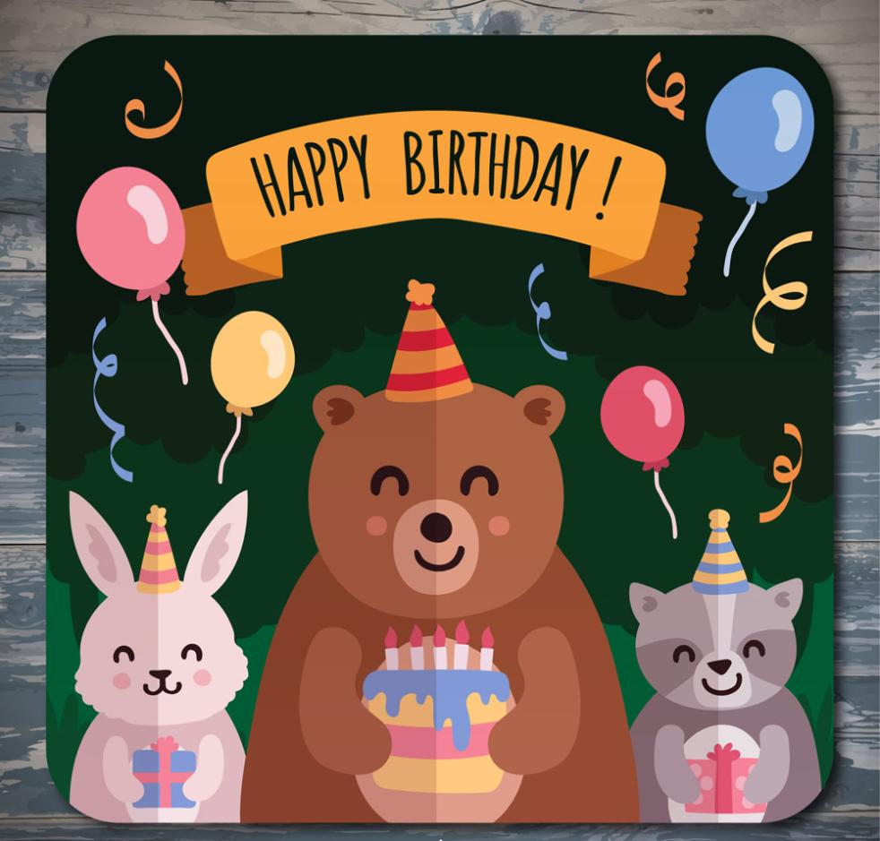 Three Cute Animal Birthday Cards Vector