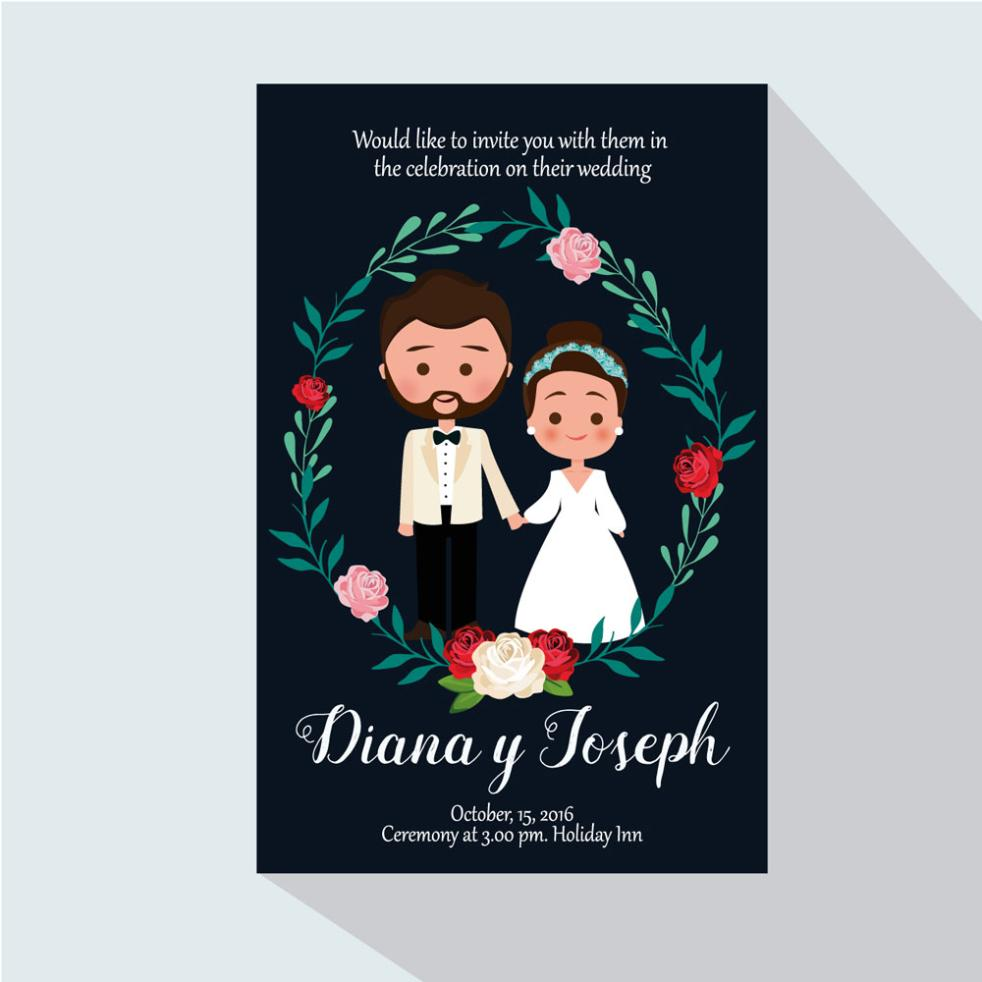 Cartoon The Bride And Groom Wedding Invitation Card Vector