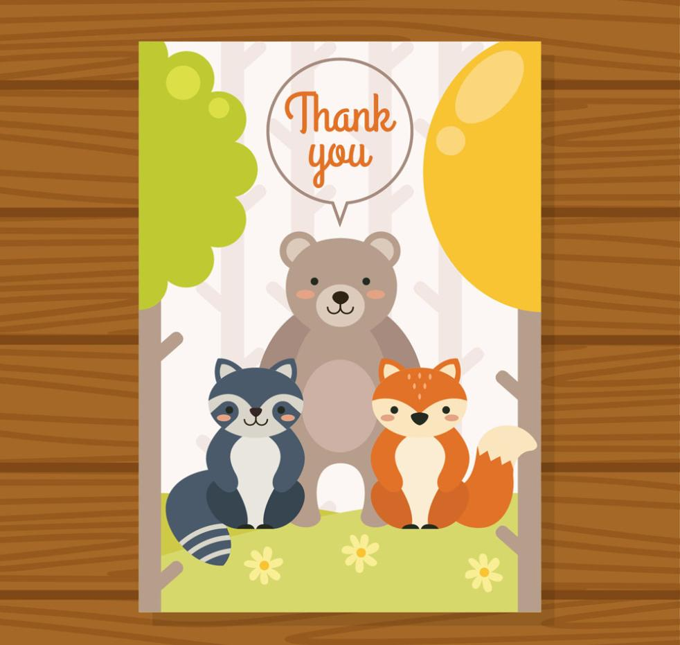 Three Cute Animals Thanksgiving Cards Vector