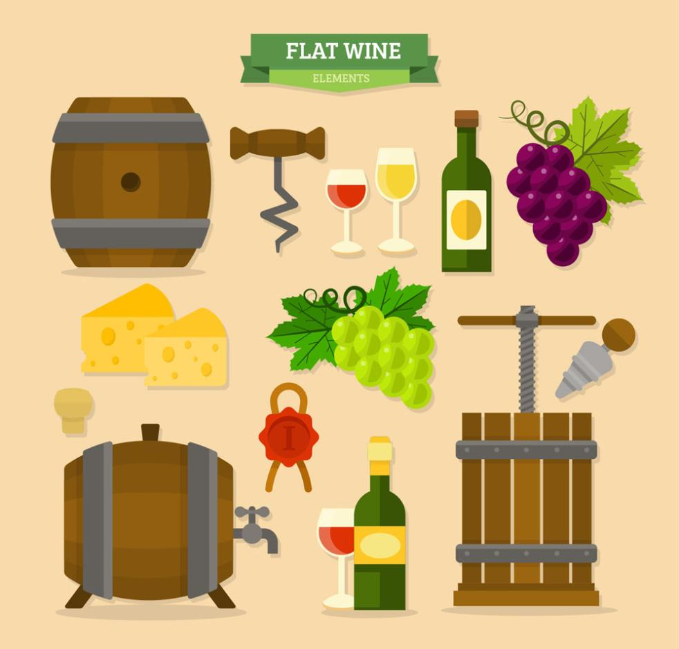 14 Flat Wine Elements Vector