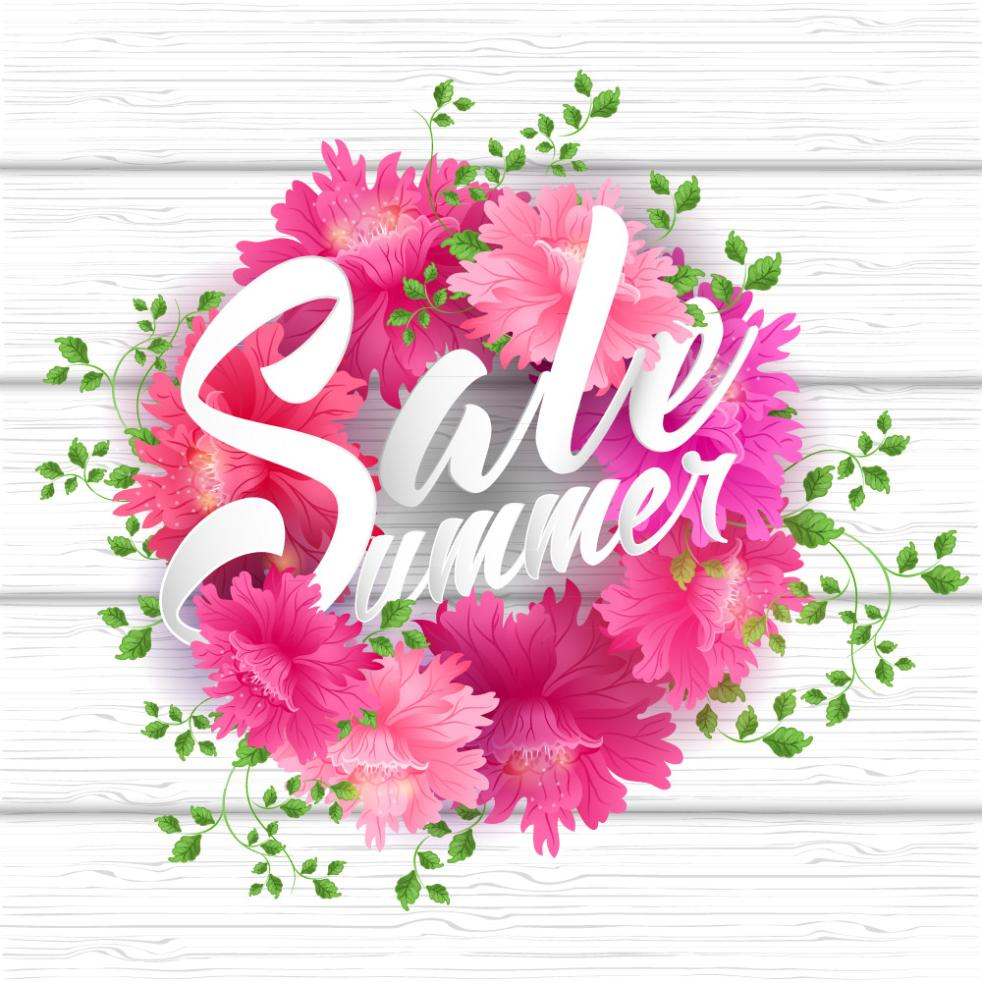 Pink Flower Garlands And Summer Promotional Artistic Words Vector