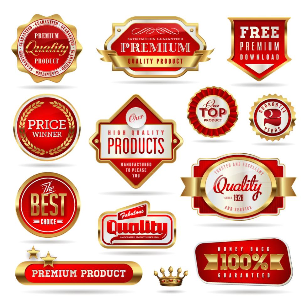 12 Phnom Penh Red Quality Promotion Label Vector