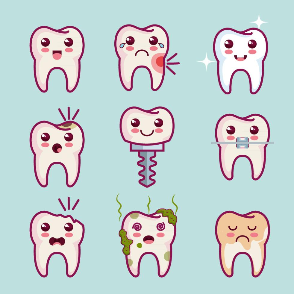 Nine New Cartoon Teeth Design Vector
