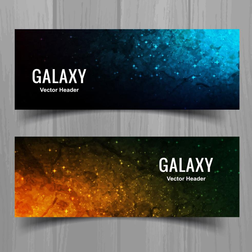 2 Or More Abstract Banner The Milky Way Vector