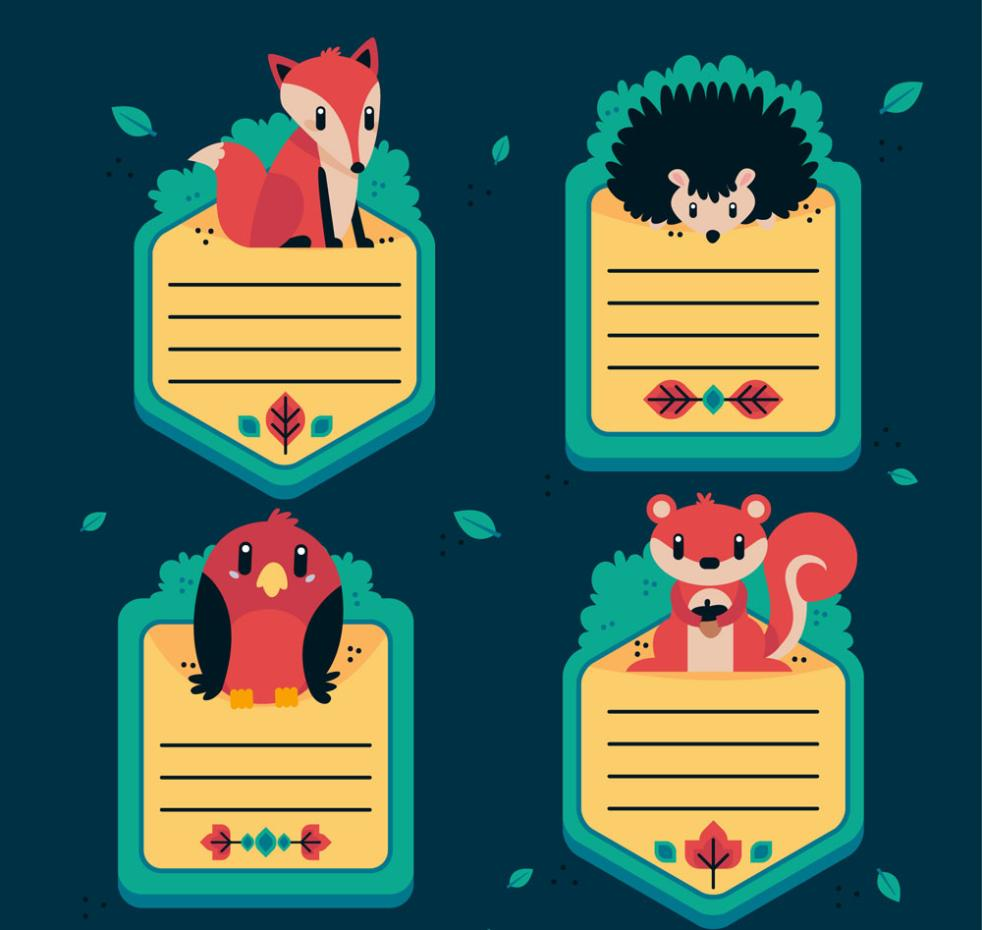 4 Kind Of Cute Animals Message Card Design Vector