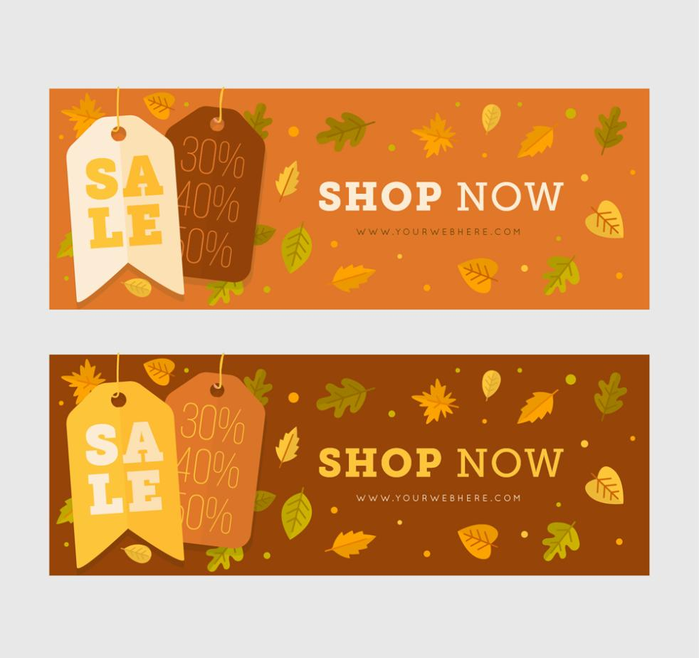 Two Flat Fall Promotional Banner Vector