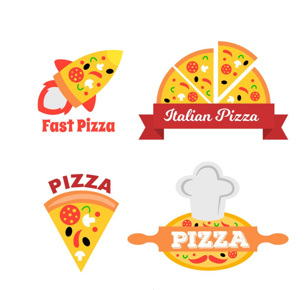 4 Creative Pizza Place Tags Vector
