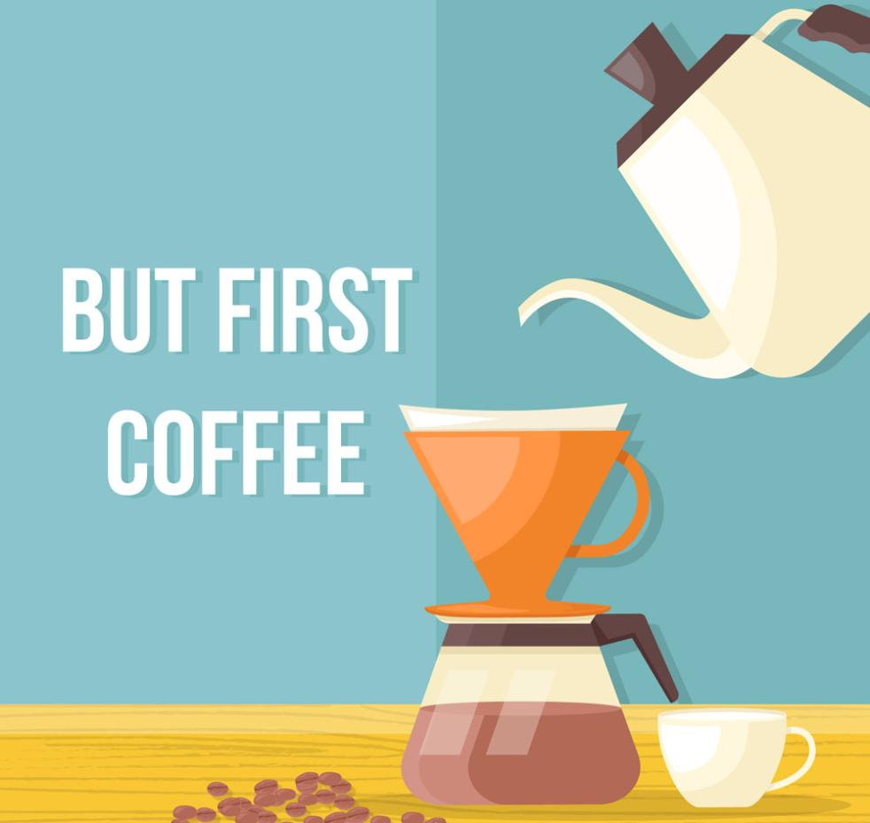 Flattening Coffee Illustrations Vector