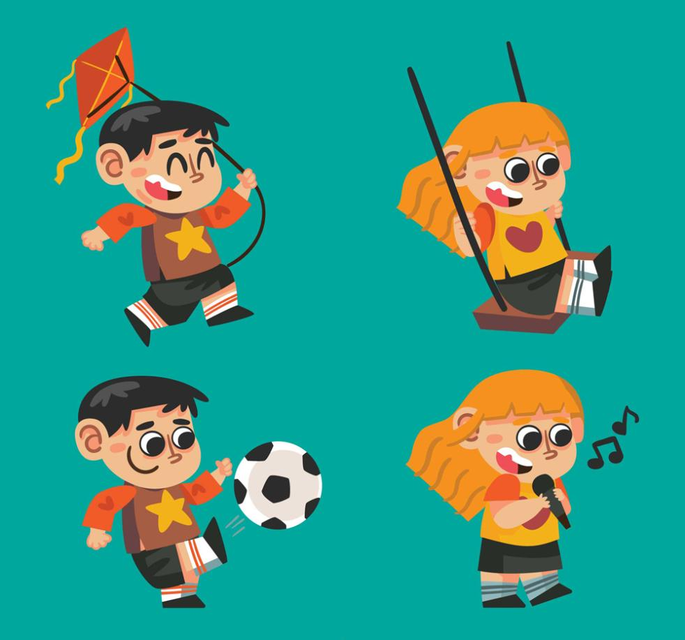 Four Lovely Children Play Vector