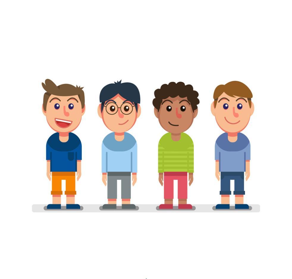 4 Cartoon Smiling Face Boy Vector