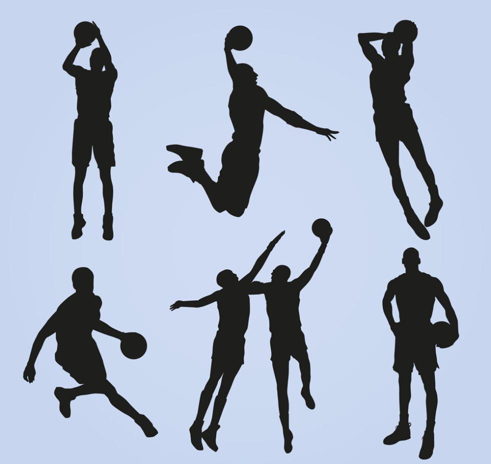 Seven New Creative Basketball Silhouette Vector