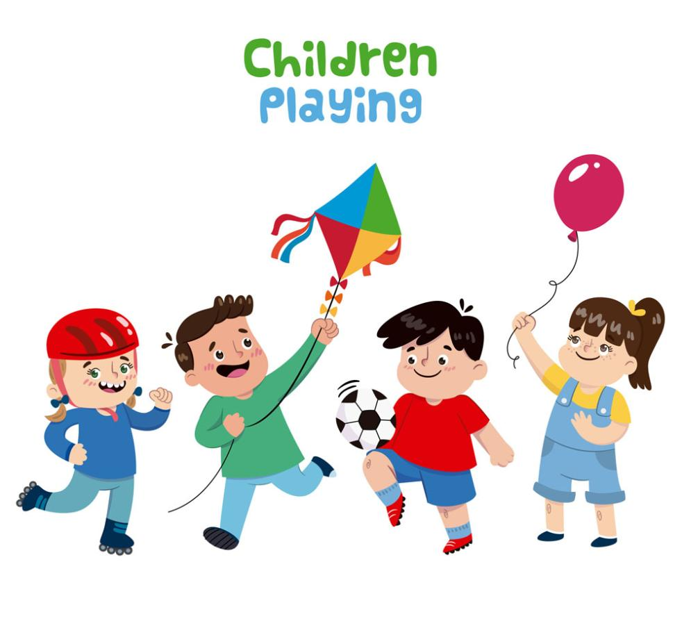 Four Cartoon Playing Children Vector