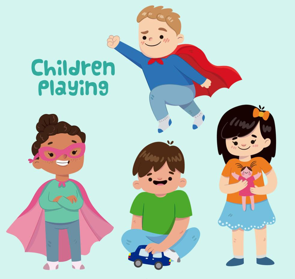 4 Cartoon Playing Children's Designs Vector