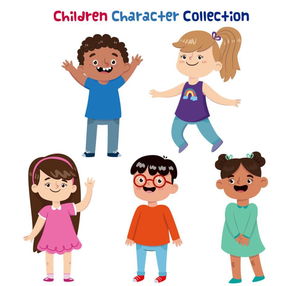 5 Children Happy Vector