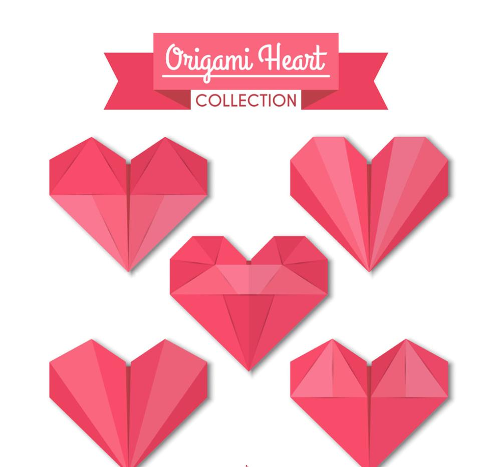 Five Red Origami Love Vector