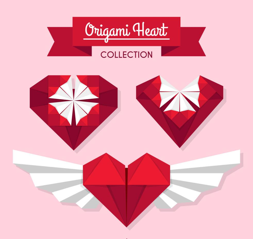 Three Creative Red Love Origami Vector