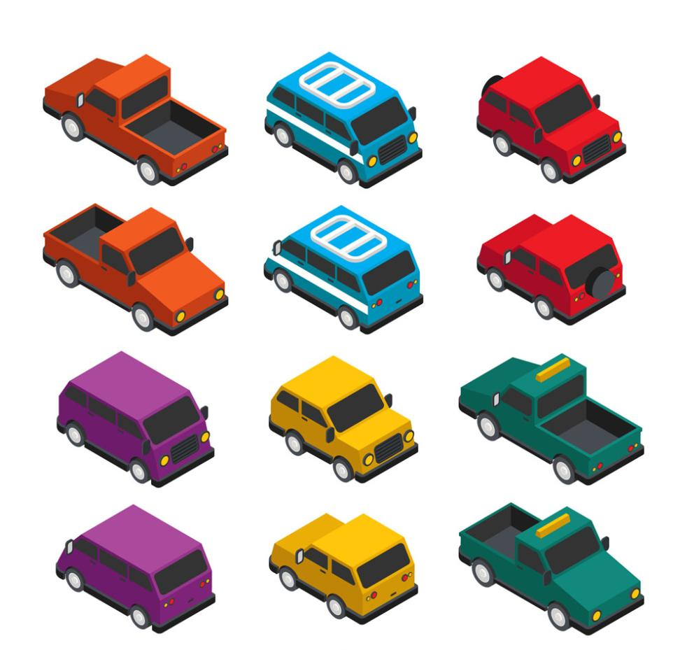 12 Color Stereoscopic Vehicles Vector