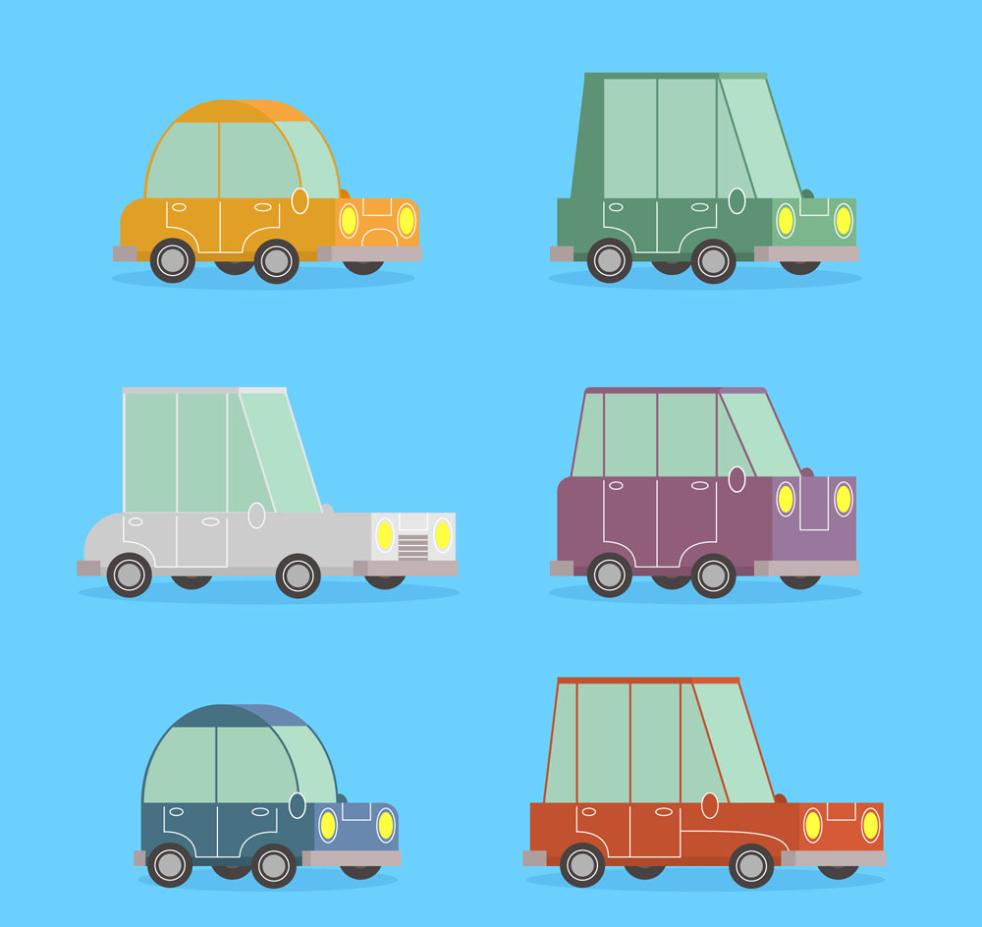 Six Cute Vehicle Coloured Drawing Or Pattern Vector