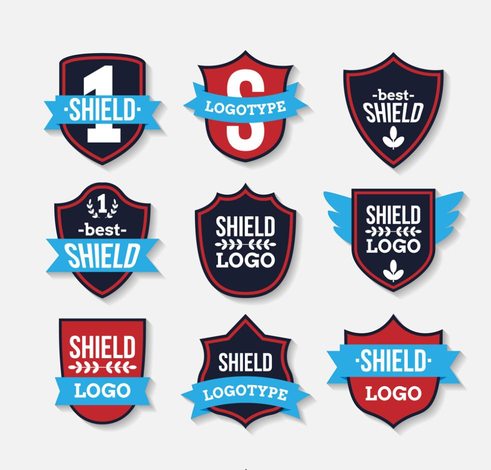 Nine New Fashion Shield Logo Vector