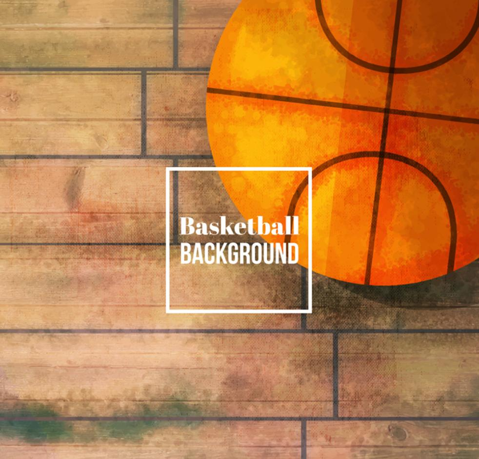 Coloured Drawing Or Pattern On The Floor Of The Basketball Vector