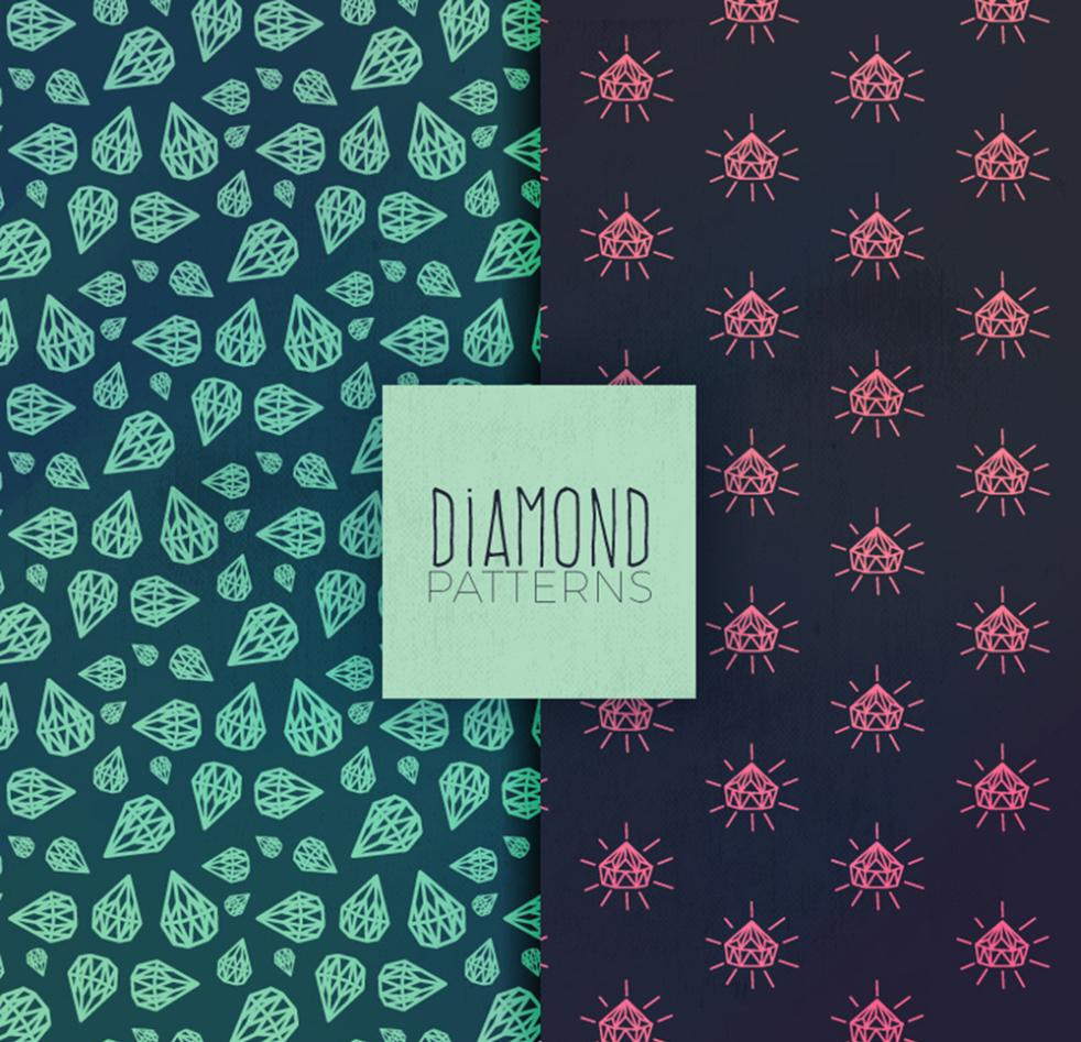 2 Hand-painted Diamond Seamless Background Vector