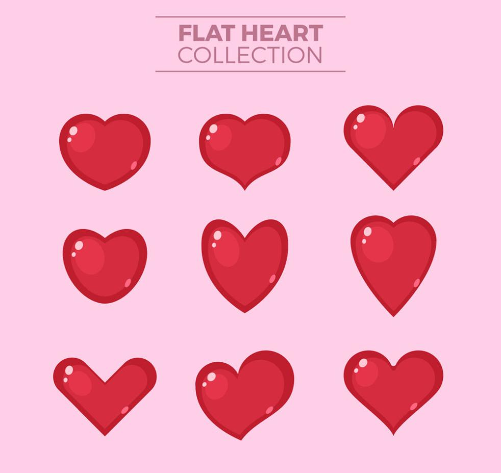 9 A Flat Red Love Vector