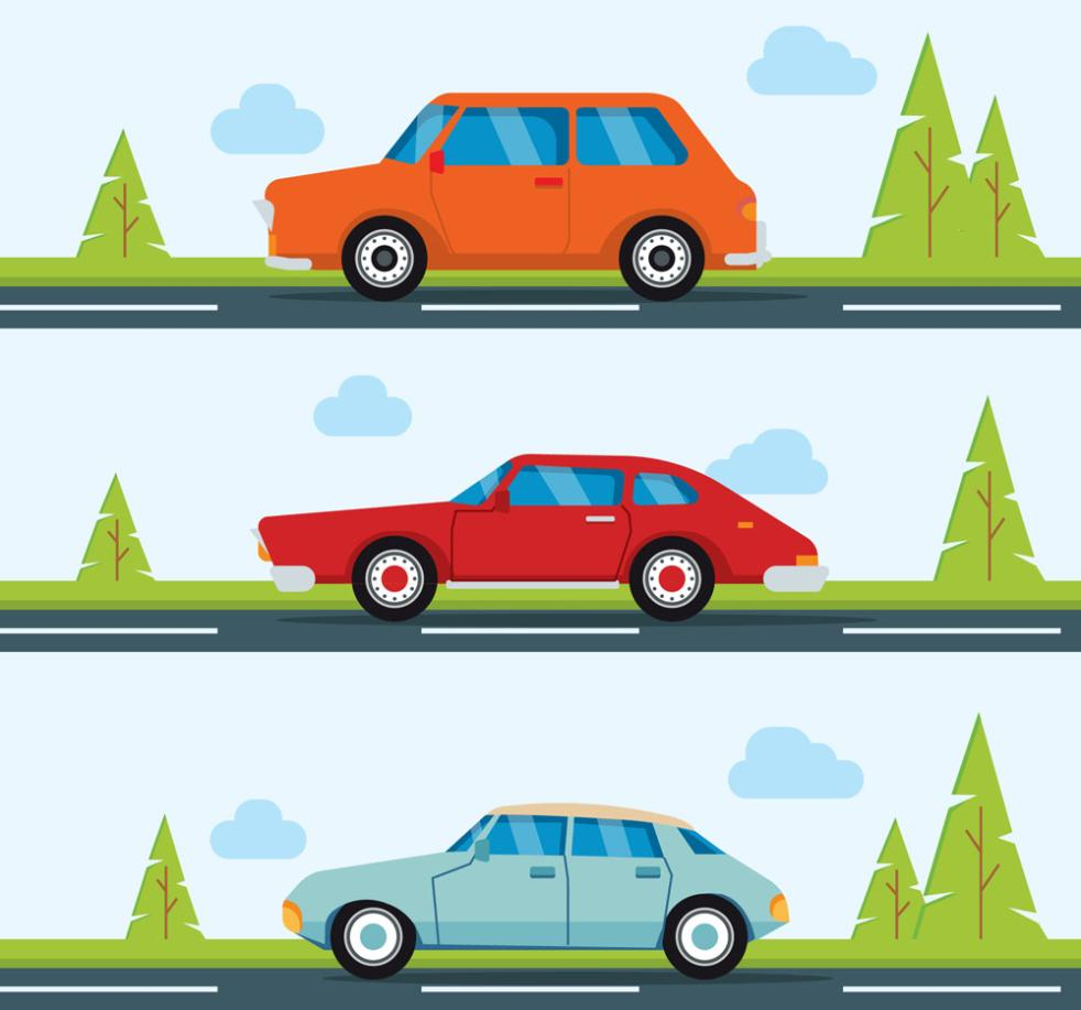 Three Creative Open In The Vehicle On The Road Vector