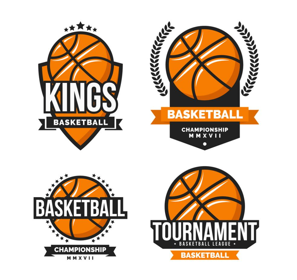 4 Creative Basketball Label Vector